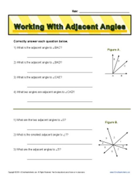Adjacent Angles Worksheet by Worksheets Adjacent Angles Worksheet Opossumsoft