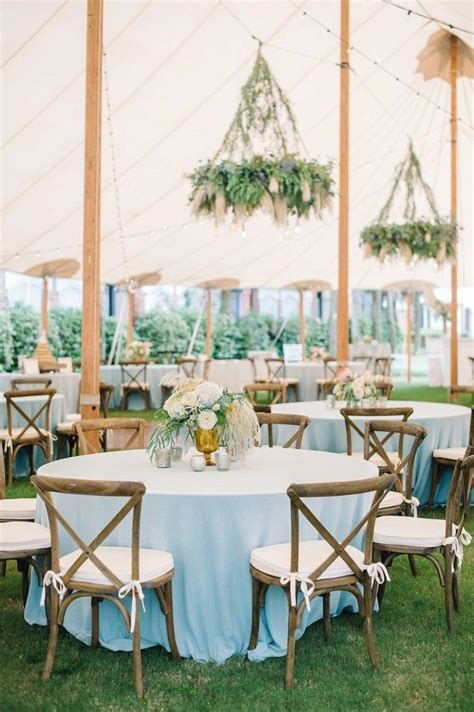 Rustic chic, dusty blue, mint and ivory wedding reception