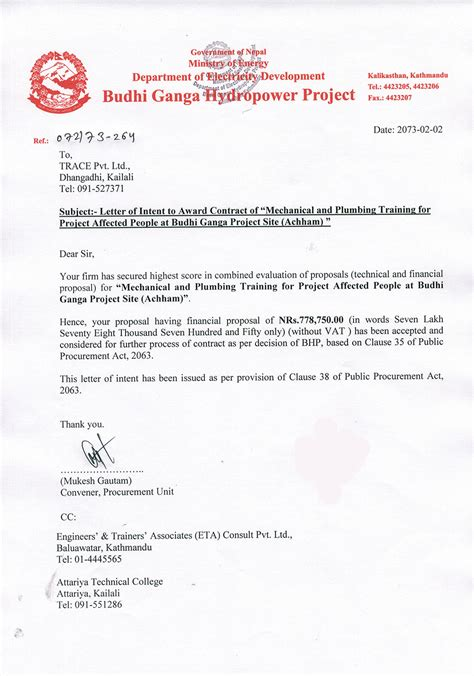 Letter Of Award Vs Letter Of Intent Budhi Ganga Hydropower Project