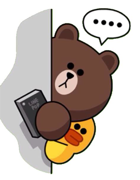 Brown Line Characters brown hiding with his line pop line stickers emoticons brown and