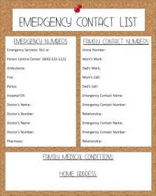 free printable emergency contact list images frompo