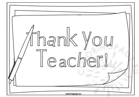 printable thank you cards to color for teachers thank you teacher coloring page