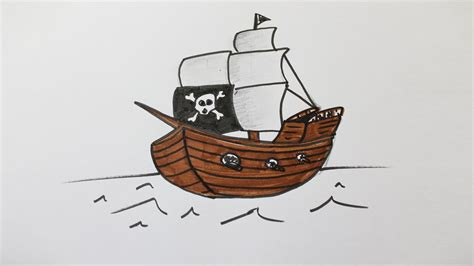 dessin de bateau facile a faire comment dessiner un bateau pirate youtube
