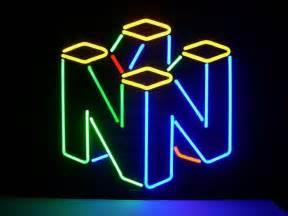 room neon signs new nintendo 64 real glass neon light sign home bar
