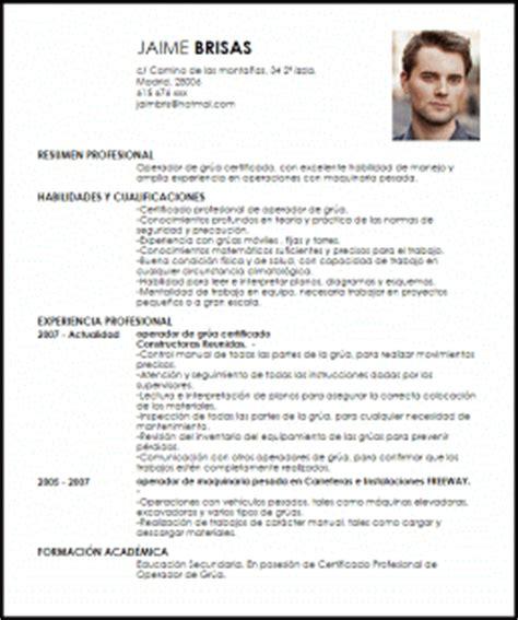 Modelo Curriculum Operario Modelo Curriculum Vitae Operador De Gr 250 A Certificado Livecareer