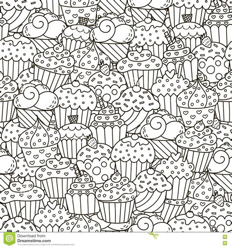 coloring book fabric black and white cupcakes seamless pattern stock vector