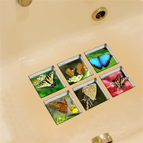 non slip bathtub stickers pag 6pcs 13x13cm butterfly pattern 3d anti slip waterproof