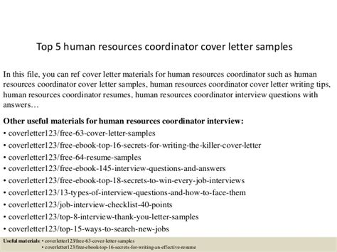 cover letter for human resource coordinator top 5 human resources coordinator cover letter sles