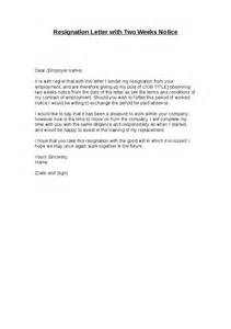 Resignation Letter Two Week Notice Basic » Home Design 2017