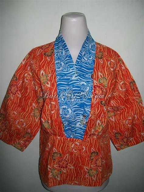 Blus Tenun Kombinasi 2in1 Biru blus batik wanita batik berwarna orange kombinasi batik
