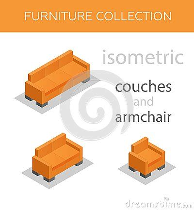 sofa isometric view isometric sofa and an armchair stock illustration image