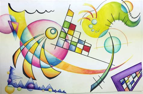 kandinsky non objective watercolor pencil painting
