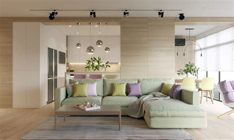 modern house design   wooden accent  pastel color