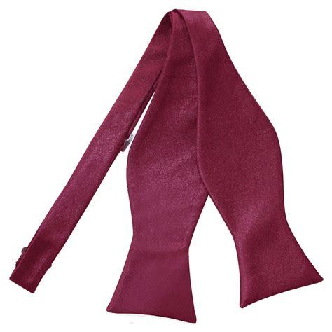 Men's Plain Burgundy Satin Self Tie Bow Tie