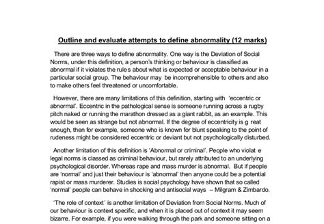 Outline And Evaluate One Definition Of Abnormality by Outline And Evaluate Attempts To Define Abnormality 12 Marks A Level Psychology Marked By