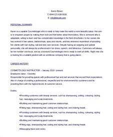 Cosmetology Instructor Sle Resume by Sle Cosmetology Resume 6 Exles In Pdf Word