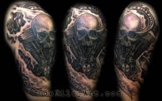 biomech skull harley tattoo by joe riley tattoonow