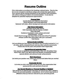 Template Of A Resume For A by Resume Outline Ingyenoltoztetosjatekok