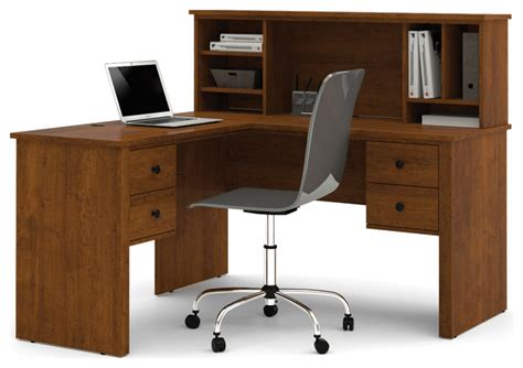 Somerville L Shaped Desk With Hutch In Tuscany Brown Modern Desk Hutch