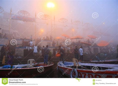 boating license india boating on ganges river with dense fog editorial stock