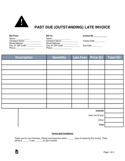 Invoice Template Late Fee Hardhost Info Late Fee Template