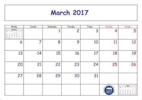 March Printable Calendar 2017 Pdf