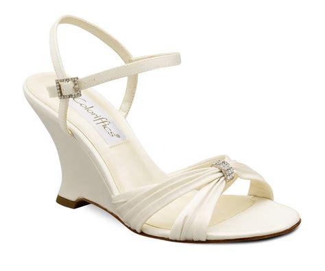 Ivory Bridal Wedges by Ivory Satin Rhinestone Bridal Wedge Heel Shoes