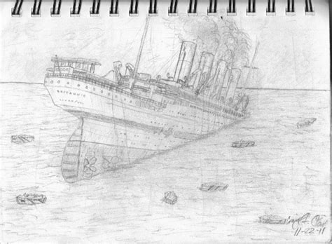 Britannic Sinking Drawing Ciij Britannic Coloring Pages