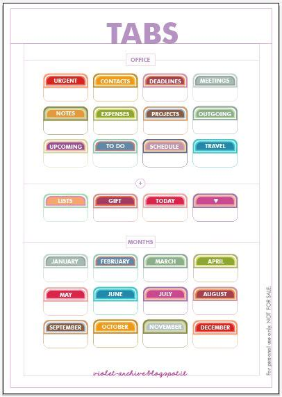 Free Printable Planner Tabs | free printable tabs i m using these in my filofax
