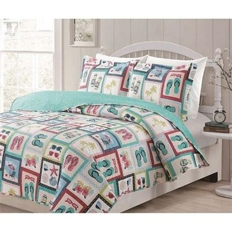 flip flop comforter set new twin full queen king bed white blue pink flip flops 3