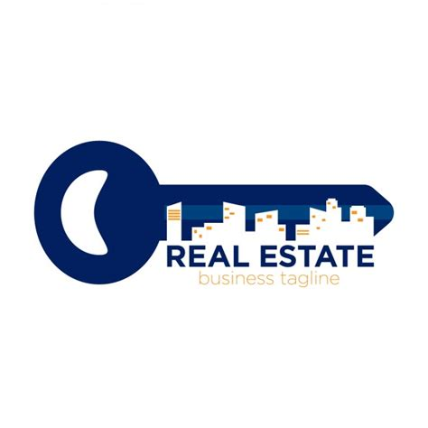 real estate logo in key form vector free