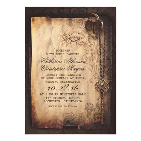 Skeleton Key Wedding Invitations skeleton key vintage wedding invitations zazzle
