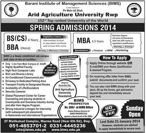 Arid Agriculture Fee Structure Mba by Arid Agricultural Univeristy Rwp Admissions 2014 In Bs Cs