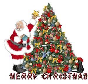 Merry christmas animated gif with santa christmas tree and blinking