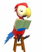 Animasi Bergerak – Parrot Reading Book