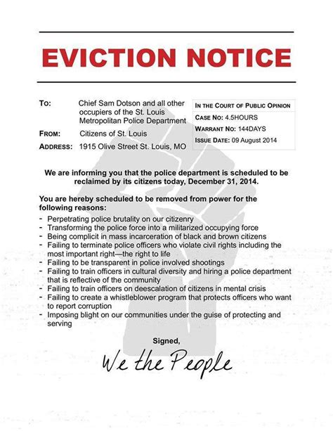 eviction notice template nsw protesters st louis headquarters with