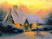 Winter Scenes Christmas Tree Cottage