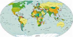 Large world map political map with continents countries and