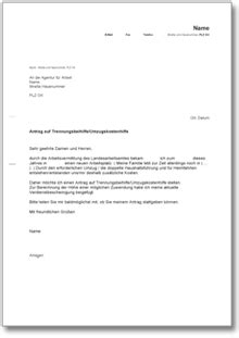 Musterbrief Adressänderung Bei Umzug Antrag Auf Trennungsbeihilfe Umzugskostenhilfe Bei Der Agentur F 252 R Arbeit De Musterbrief