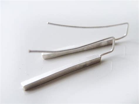 sterling silver bar earrings geometric dangle earrings