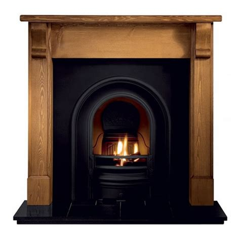 Pine Fireplace by Gallery Bedford Pine Fireplace With Coronet Cast Iron Arch