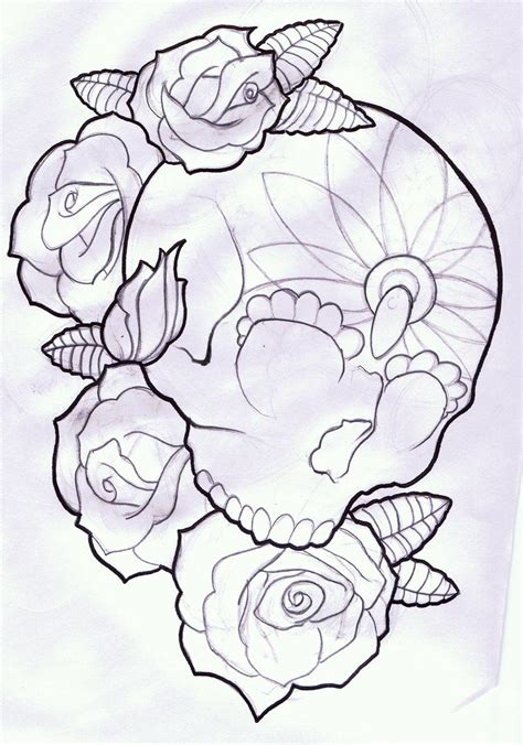 skulls and rose tattoos by kennedy something like this but with a sugar