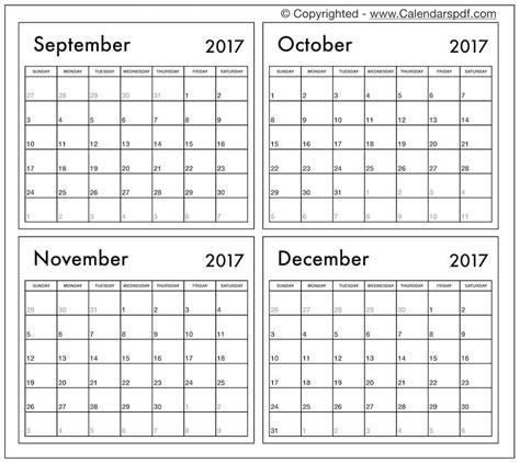 printable calendar 2017 september to december printable calendar 2017 october november december