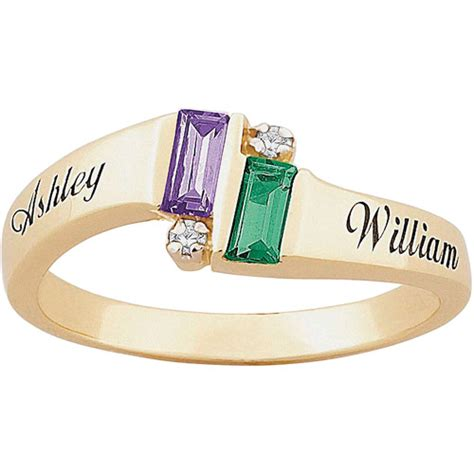 personalized s accent 10kt emerald cut