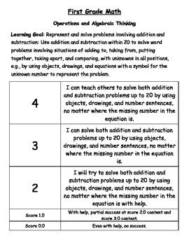 First Grade Common Core Math Learning Goal Scale Rubric By