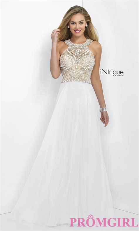 Long White Beaded Prom Dress by Blush   PromGirl