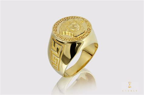 versace medusa 14k solid yellow gold s gold ring