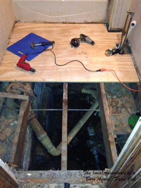 replacing a subfloor in a bathroom the mis adventures of a quot born again quot farm girl