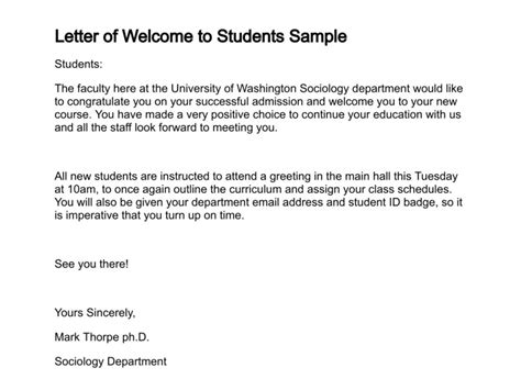 College Welcome Letter Template Letter Of Welcome