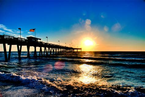 on white venice beach pier sunset hdr by photos by